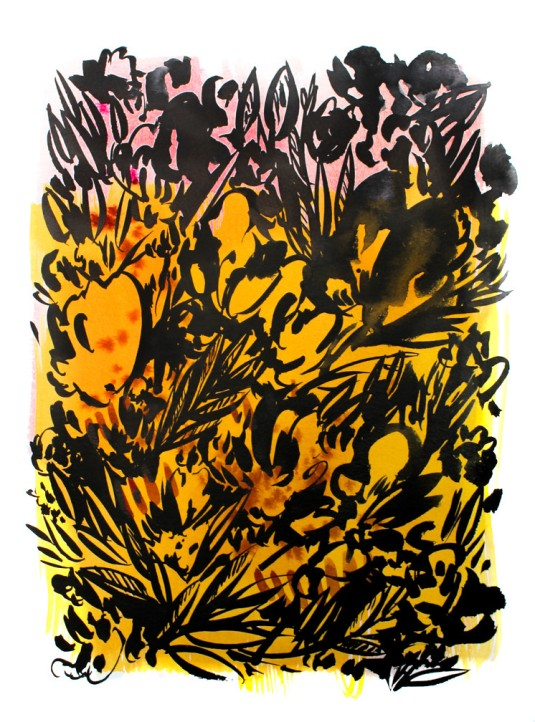 SOLD // Botanical Shadow 1, 15 x 11 inches, acrylic ink on paper, 201