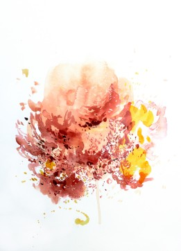 Blush Burst, 15 x 11 inches, acrylic ink on paper, 2016