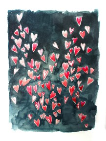 Hearts, 15 x 11 inches, acrylic ink on paper, 2016