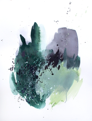 Abstract Teal 2, 24 x 18 inches, acrylic ink on paper, 2017