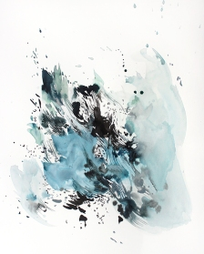 Awash 1, 24 x 18 inches, acrylic ink on paper, 2017