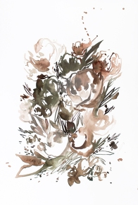 Dusty Floral 1, 18 x 12 inches, acrylic ink on paper, 2017