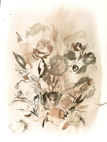 Dusty Floral 2, 24 x 18 inches, acrylic ink on paper, 2017